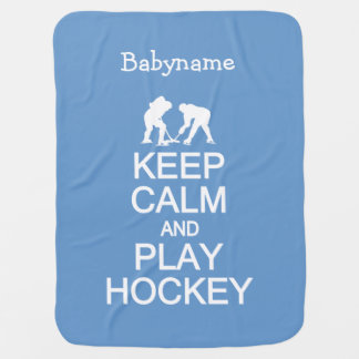 Keep Calm & Play Hockey custom color baby blanket
