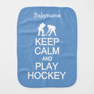Keep Calm & Play Hockey custom color burp cloth