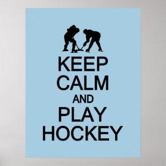 Keep Calm & Play Hockey custom color poster