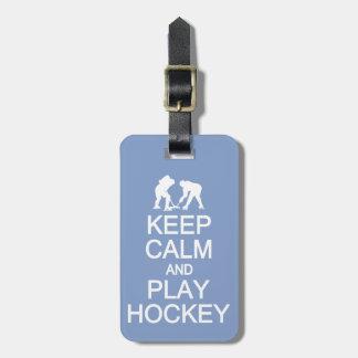 Keep Calm & Play Hockey custom luggage tag