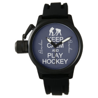 Keep Calm & Play Hockey custom name watches