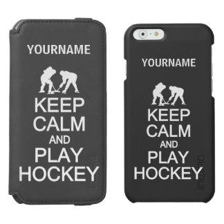 Keep Calm & Play Hockey custom wallet cases Incipio Watson™ iPhone 6 Wallet Case