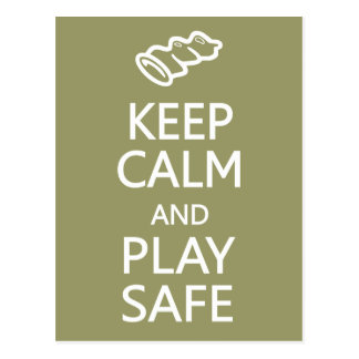 Keep Calm & Play Safe custom postcard