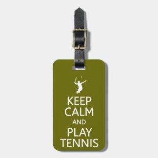 Keep Calm & Play Tennis custom luggage tag