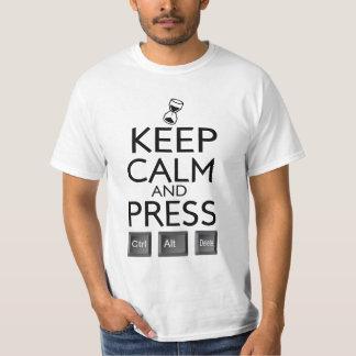 Keep calm Press Control Alt Del Funny T-shirts
