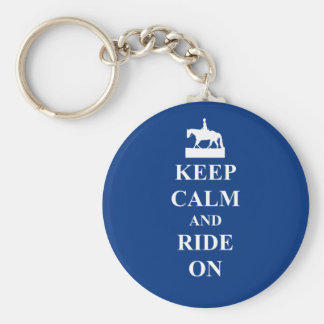 Keep calm & ride on (blue) basic round button key ring