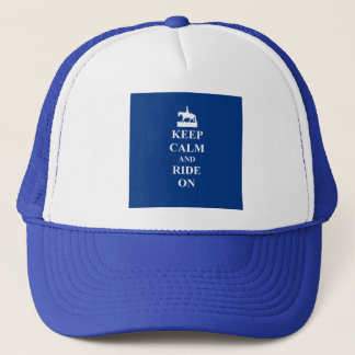 Keep calm & ride on (blue) trucker hat