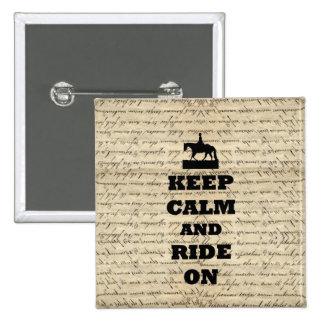 Keep calm ride on pins