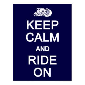 Keep Calm & Ride On postcard, customize Postcard