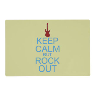 Keep Calm Rock Out – Parody -- Beige Background Placemat