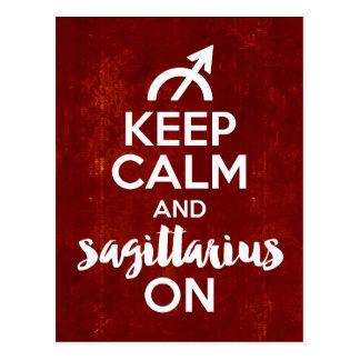 Keep Calm Sagittarius On Birthday Red Postcard