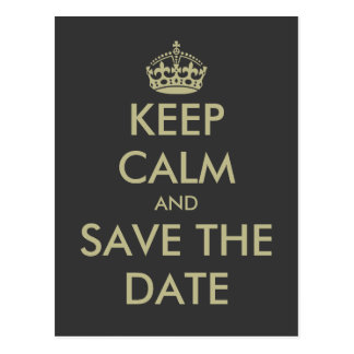 Keep calm save the date postcard | Faux gold