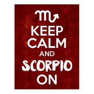 Keep Calm Scorpio On Birthday Astrology Postcard