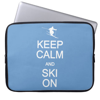 Keep Calm & Ski On custom color laptop sleeve