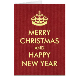 Keep Calm Style Christmas Greeting Red Kraft Paper Card