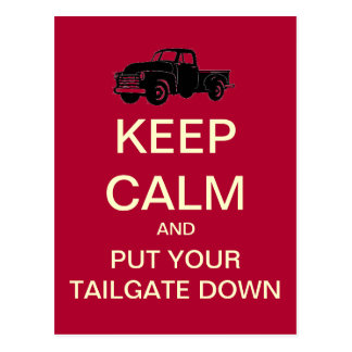 Keep Calm Tailgate Party Postcard Invitation Red