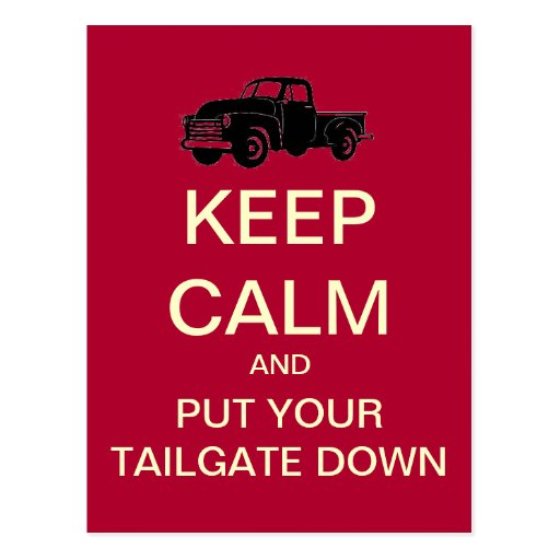 Keep Calm Tailgate Party Postcard Invitation(Red)