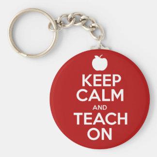 Keep Calm & Teach On Basic Round Button Key Ring