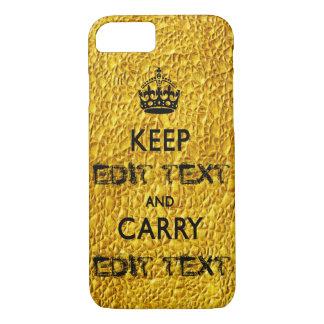 KEEP CALM TEMPLATE CUSTOMIZE GOLD BEST SELLER iPhone 7 CASE