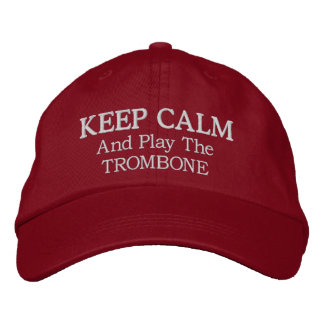 Keep Calm Trombone Music Embroidered Hat