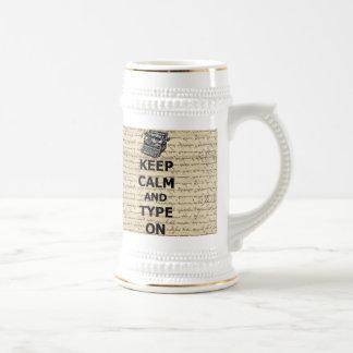 Keep calm & type on coffee mugs