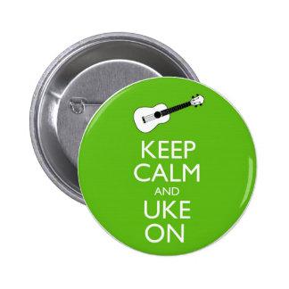 Keep Calm Uke On (Shamrock) 6 Cm Round Badge