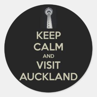 keep calm visit auckland round sticker