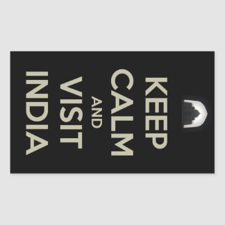 keep calm visit india rectangular sticker