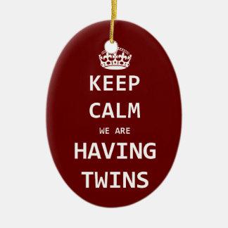 Keep Calm we are having twins Ceramic Ornament