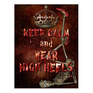 Keep Calm Wear High Heels HORROR Postcard