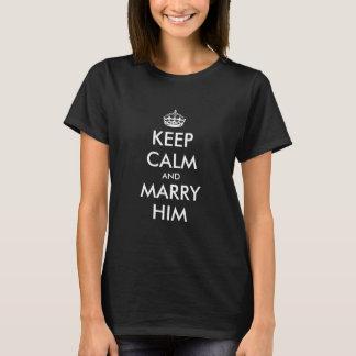 Keep calm wedding engagement t shirt for women.