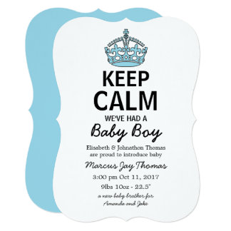 Keep Calm We've Had A Baby Boy, Baby Announcement