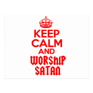 Keep Calm worship Satan Postcard