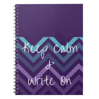 Keep Calm & Write On Purple Chevron Journal