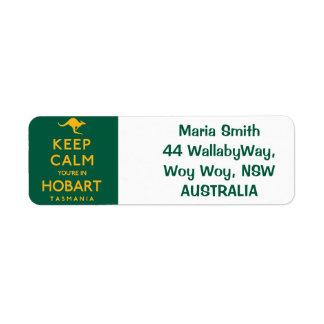 Keep Calm You're in Hobart! Return Address Label