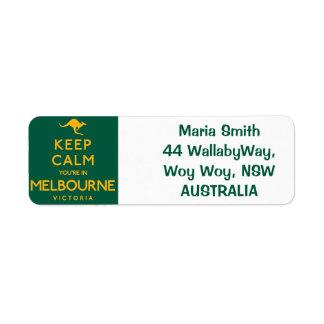 Keep Calm You're in Melbourne! Return Address Label
