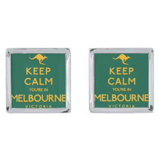 Keep Calm You're in Melbourne! Silver Finish Cuff Links