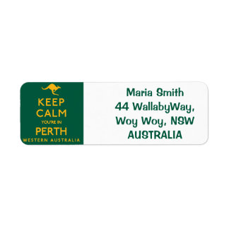 Keep Calm You're in Perth! Return Address Label
