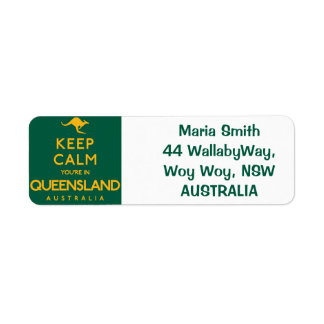 Keep Calm You're in Queensland! Return Address Label