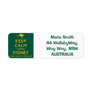 Keep Calm You're in Sydney! Return Address Label