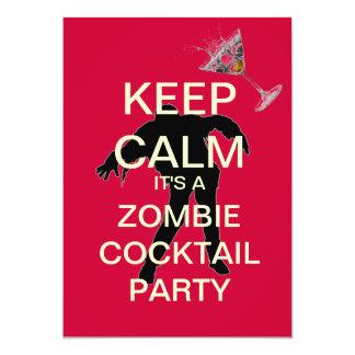 Keep Calm Zombie Cocktail Party Custom Invitation