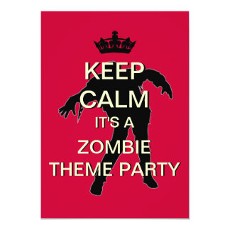 Keep Calm Zombie Theme Party Invitation (Red)