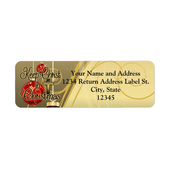 Keep Christ in Christmas, Gold/Red Christian Return Address Label