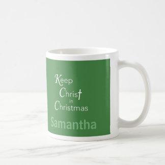 Keep Christ in Christmas Mug, Green, Customizable Coffee Mug