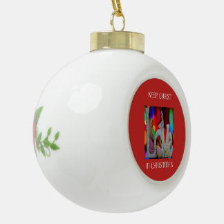 Keep Christ n Christmas with the Nativity and Love Ceramic Ball Christmas Ornament