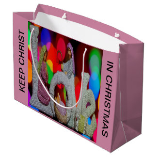 Keep Christ n Christmas with the Nativity and Love Large Gift Bag