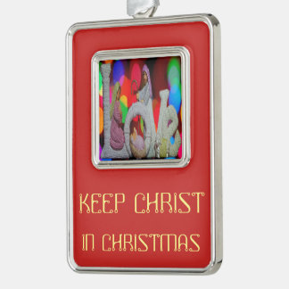 Keep Christ n Christmas with the Nativity and Love Silver Plated Framed Ornament