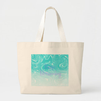 Keep Dreaming Typography on Liquid Marble Design Large Tote Bag