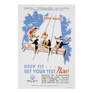 Keep Fit Get Tested 1939 WPA Print