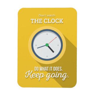 Keep going don't watch the clock yellow rectangular photo magnet